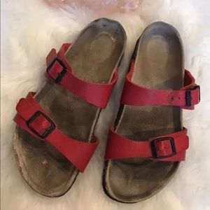 Birkenstock Red Leather 2 Strap Sandals
